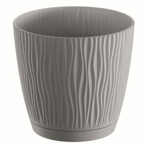 Květináč s miskou SANDY P šedý kámen 18,8cm