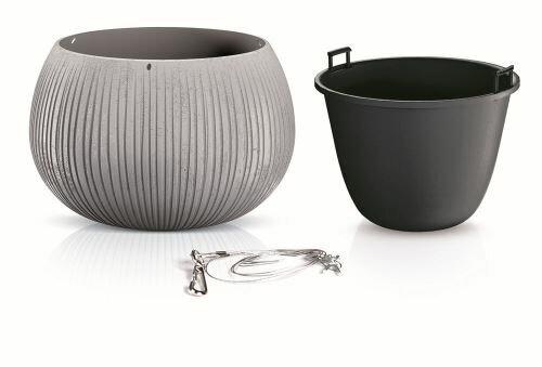 Květináč s vkladem a ocel. lankem BETON BOWL WS šedý 37 cm
