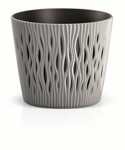 Květináč s vkladem SANDY ROUND šedý kámen 26,2 cm