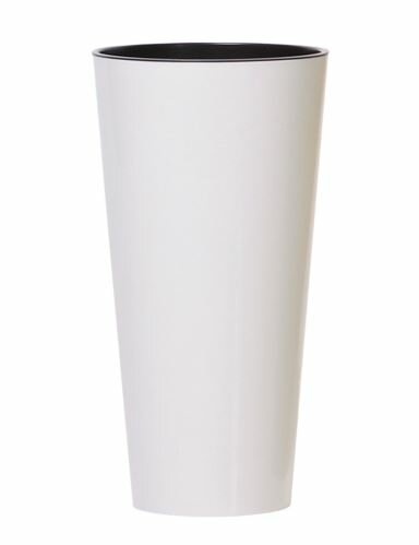 Květináč TUBUS SLIM + vklad bílý lesk 15cm