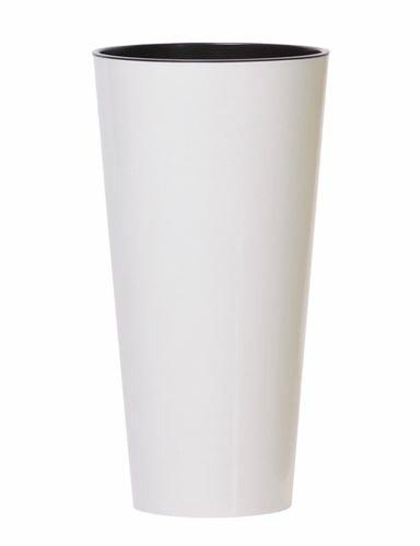 Květináč TUBUS SLIM + vklad bílý lesk 25cm