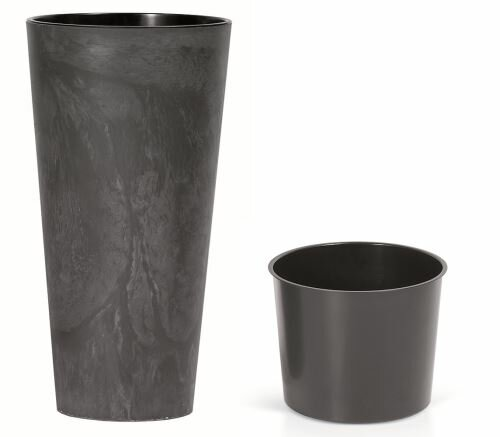 Květináč TUBUS SLIM EFFECT + vklad antracit 30 cm