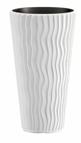 Květináč SANDY SLIM + vklad bílý 29,7 cm