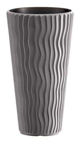 Květináč SANDY SLIM + vklad šedý kámen 29,7 cm