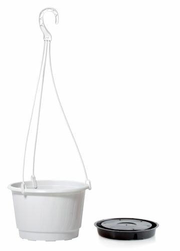 Květináč závěsný PRO bílý 27cm+HÁK a VKLAD 3