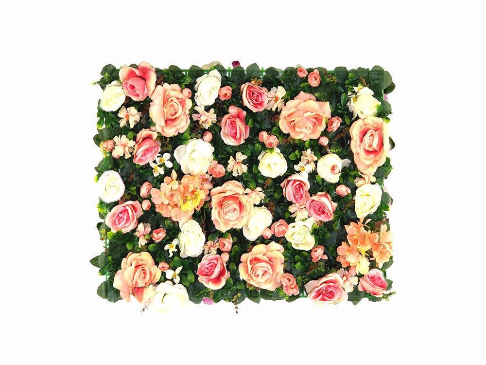 Umelý kvetinový panel Hortenzia a Ruža - 40x60 cm