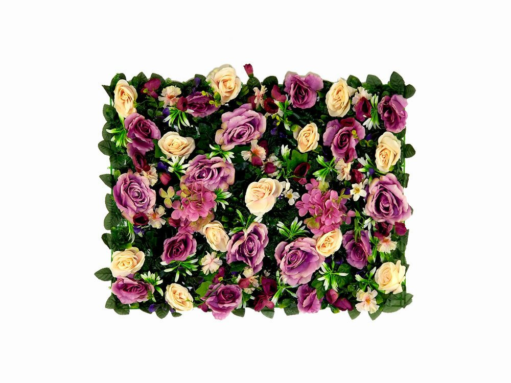 Umělý živý květinový panel Růže a Hortenzie - 40x60cm