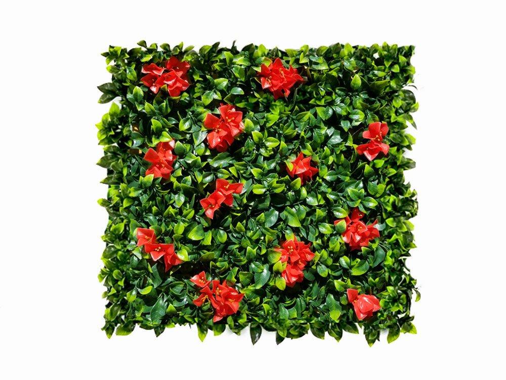 Umělý živý panel s červenými květy Maxima - 50x50cm