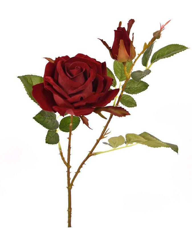 Umělá větev Růže burgundy 60 cm