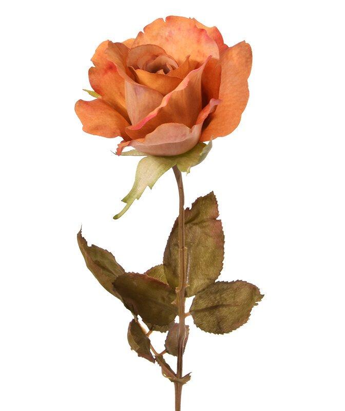Umělá větev Růže oranžová 60 cm