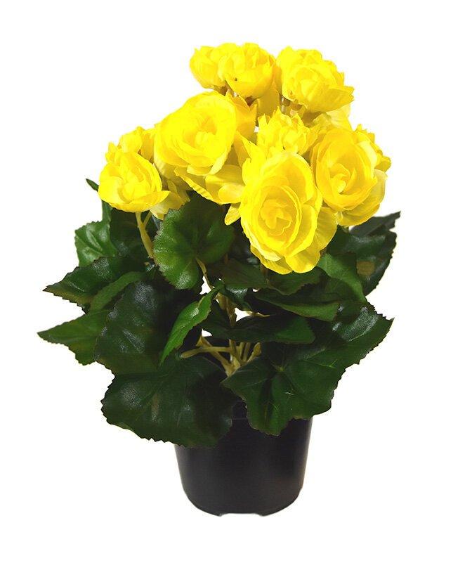 Umělá kytice Begónie 25 cm žlutá