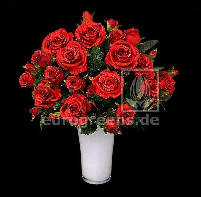Umelá kytica ruží červená 50 cm