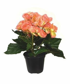 Umelá rastlina Begónia oranžová 20 cm