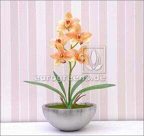 Umelá rastlina Orchidea Cymbidium oranžová 50 cm