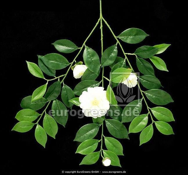 Umelá vetva Gardénia s kvetmi a púčikmi 55 cm